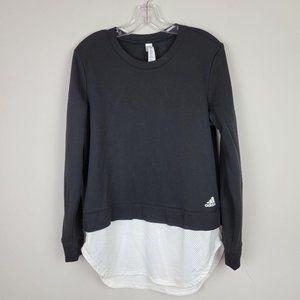 Adidas Black White Mesh Cotton Oversized Long Slee